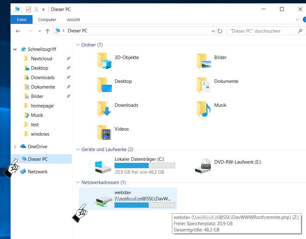 Nextcloud Windows 10 Webdav verbinden